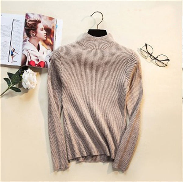 Aldorina One Size Autumn Winter Knitted Casual Slim Turtleneck