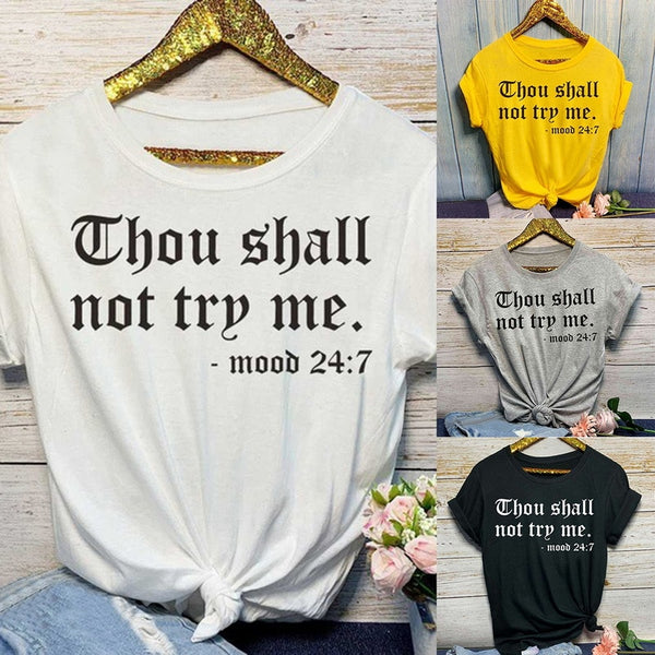 Aldorina Plus Size T-shirt Thou Shall Not Try Me