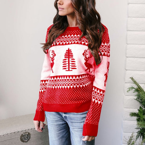 Aldorina Christmas Classic Deer Printed Knitted Winter Sweater