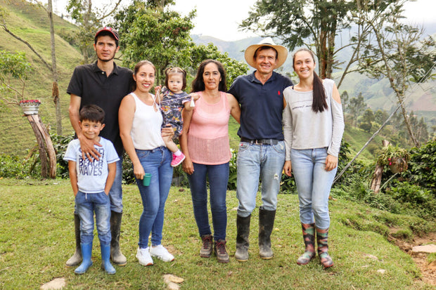 (L-R) Juan Carlos and his wife Eliana and their children Juan Julio and Renata. In centre is Maria Isabel Lopez Soland (Juan's Mum) and Carlos Julio (Juan's Dad) and Laura Catarina (Juan's Sister)