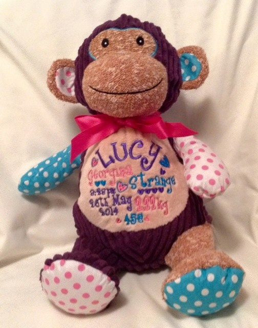 Harlequin purple monkey personalised toy cubbie