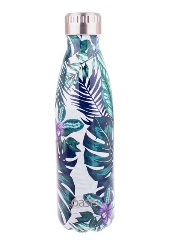 OASIS Stainless Steel Insulated Drink Bottle - Tropical Palm 500ml - Mikki & Me Kids