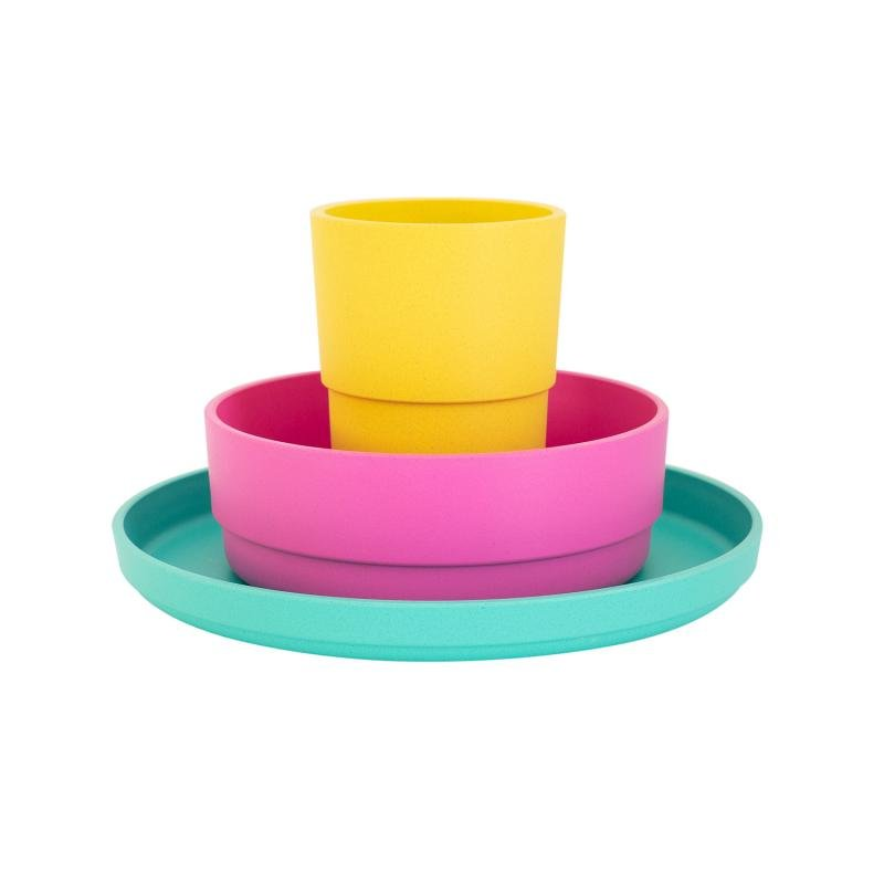 Plant-Based Dinnerware Set – Tropical - Mikki & Me Kids
