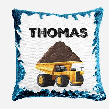 Dump Truck - Personalised Cushion Cover - Mikki & Me Kids