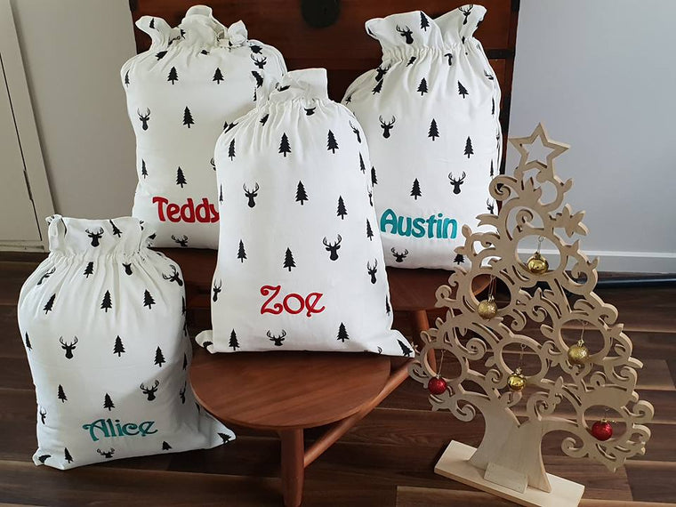Personalised Embroidered Santa Sack - Mikki & Me Kids