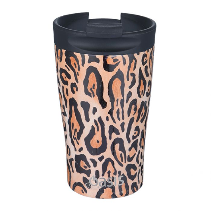 OASIS Stainless Steel Insulated Travel Cup - Leopard Print - Mikki & Me Kids