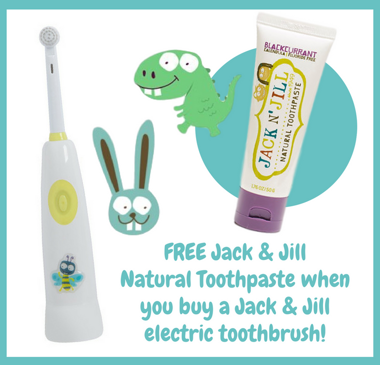 Jack & Jill Buzzy Brush Musical Electric Toothbrush + FREE Natural Toothpaste! - Mikki & Me Kids