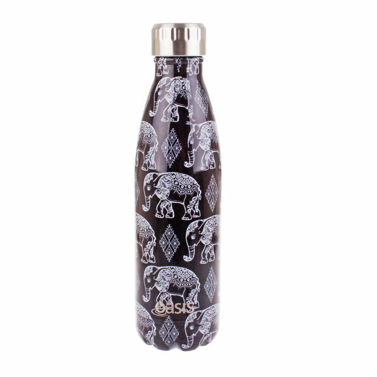 OASIS Stainless Steel Insulated Drink Bottle - Boho Elephants 500ml - Mikki & Me Kids