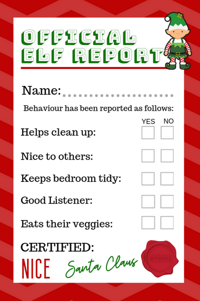 OFFICIAL ELF REPORT CARD - Download & Print At Home!