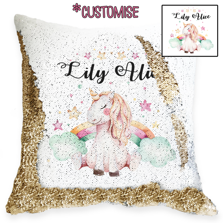 Unicorns and Rainbows - Personalised Cushion Cover