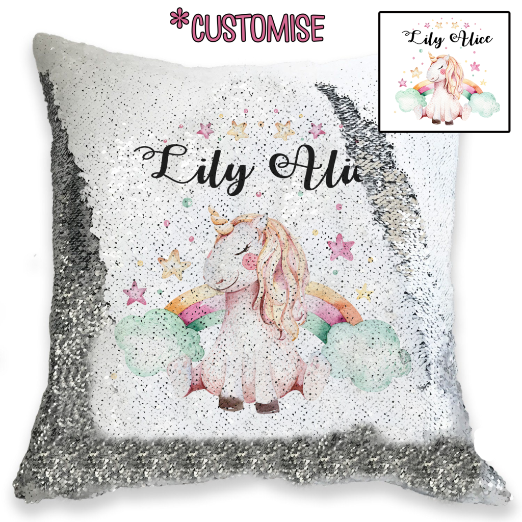 Unicorns and Rainbows - Personalised Cushion Cover - Mikki & Me Kids