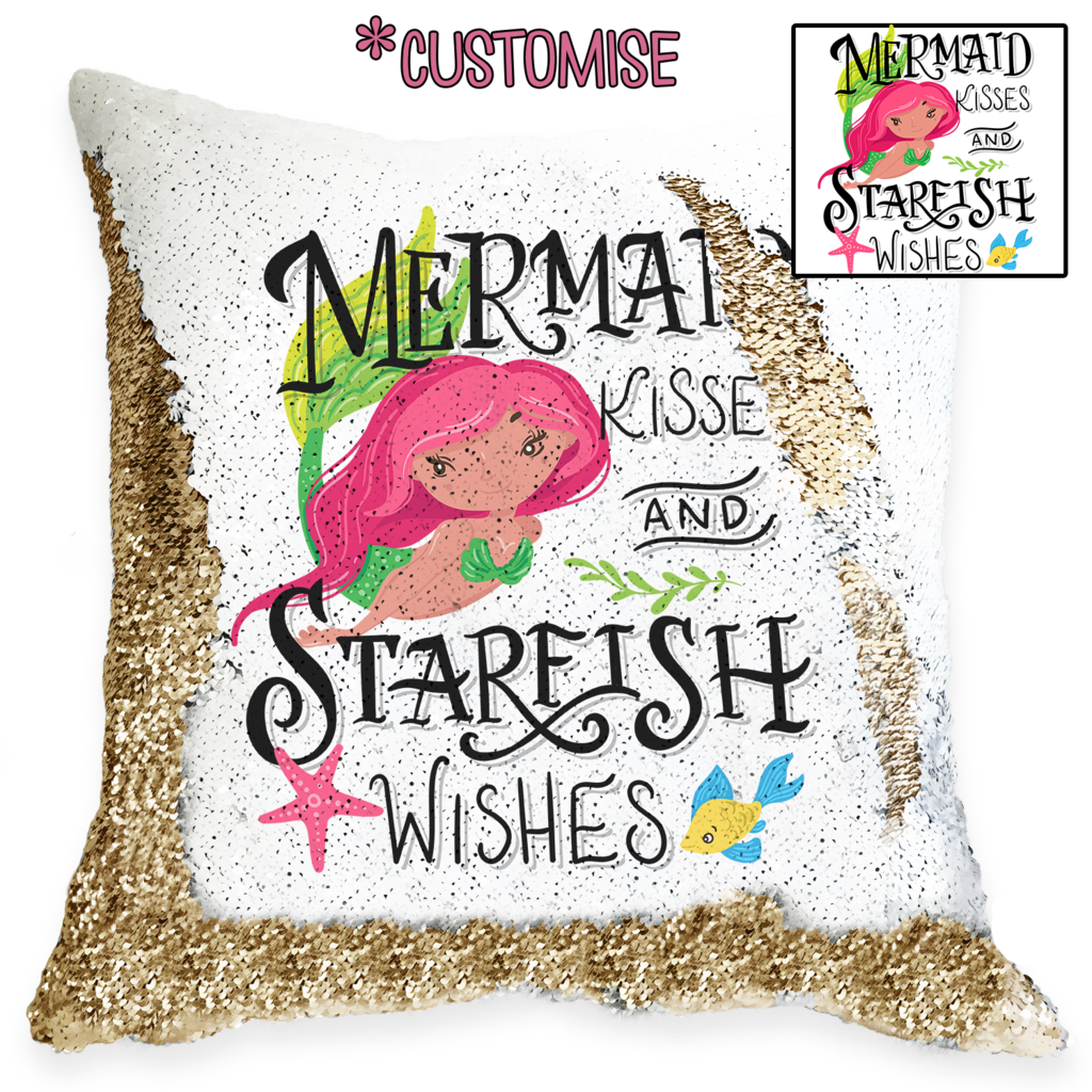 Mermaid Kisses - Personalised Cushion Cover - Mikki & Me Kids