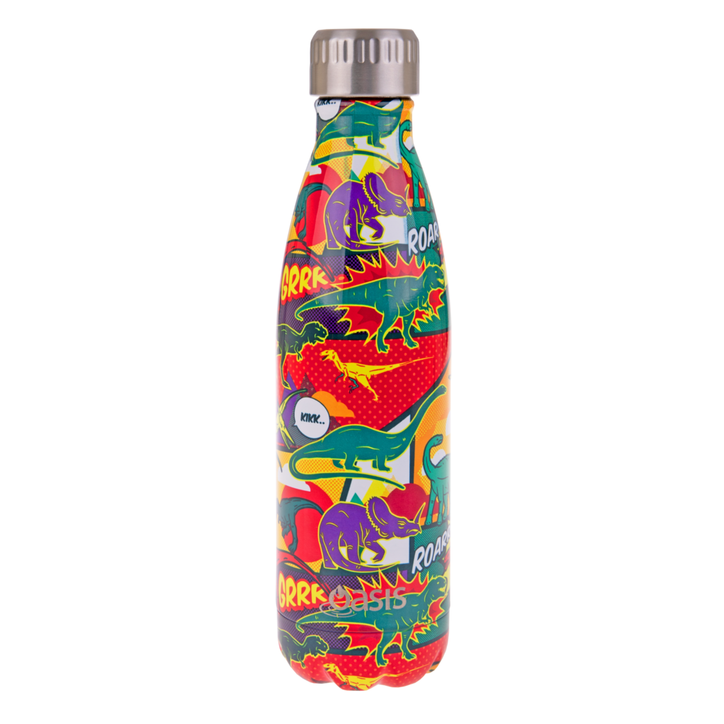 OASIS Stainless Steel Insulated Drink Bottle - Dinosaurs 500ml - Mikki & Me Kids