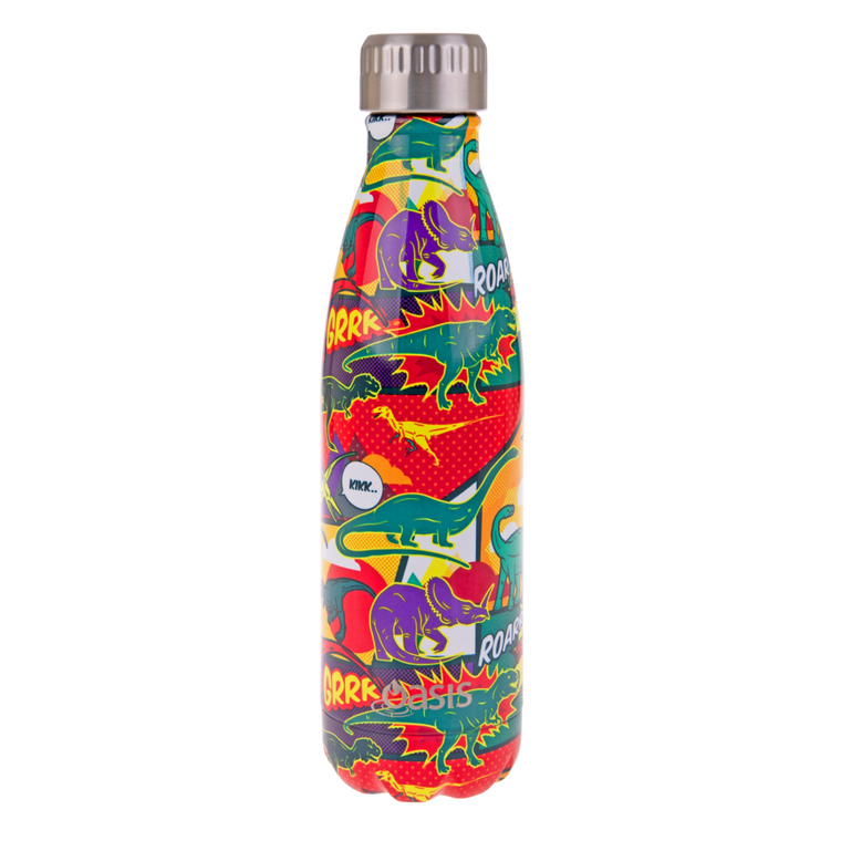OASIS Stainless Steel Insulated Drink Bottle - Dinosaurs 500ml