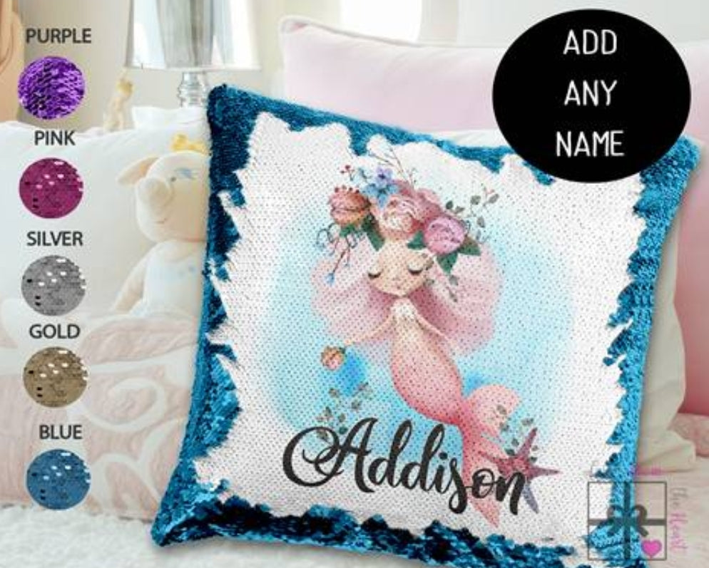Mermaid pink hair - Personalised Cushion Cover - Mikki & Me Kids