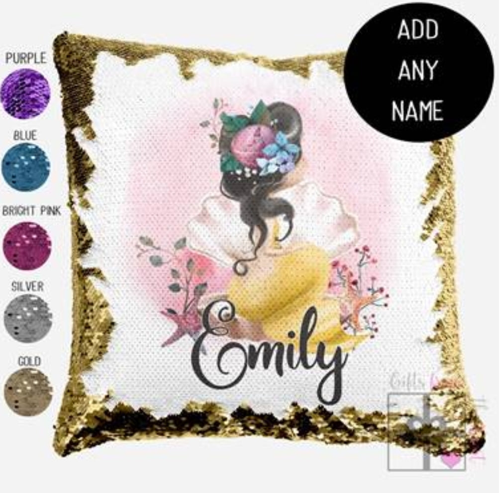 Mermaid dark hair - Personalised Cushion Cover - Mikki & Me Kids