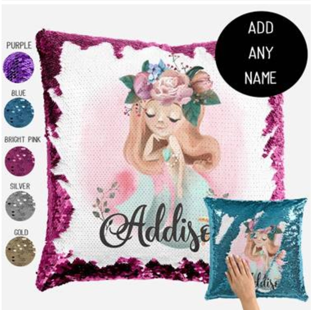 Mermaid eyes closed - Personalised Cushion Cover - Mikki & Me Kids