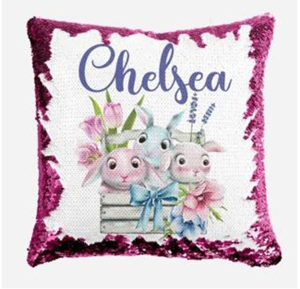 Bunnies in Flower Basket - Personalised Cushion Cover - Mikki & Me Kids
