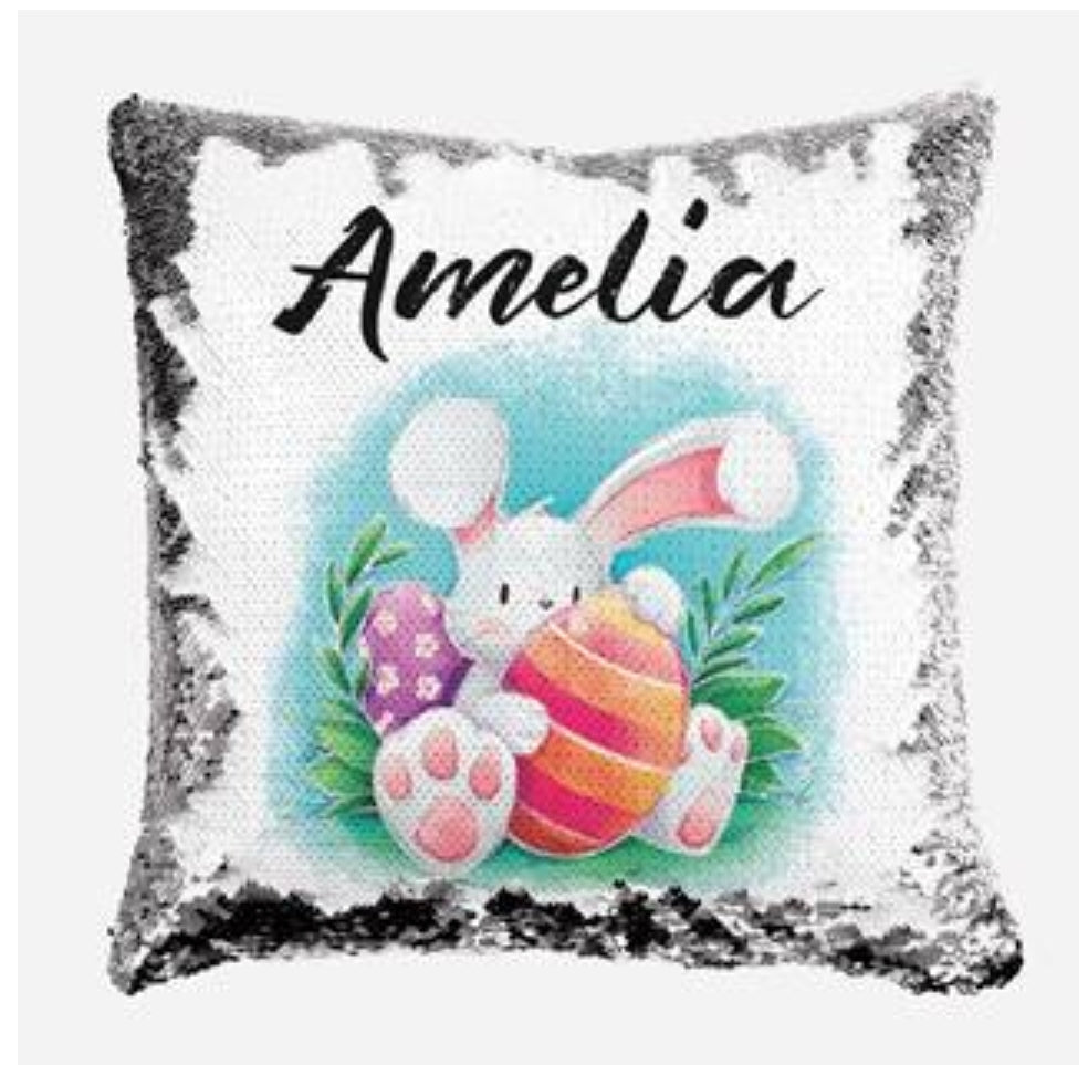 Bunny with Easter Eggs - Personalised Cushion Cover - Mikki & Me Kids