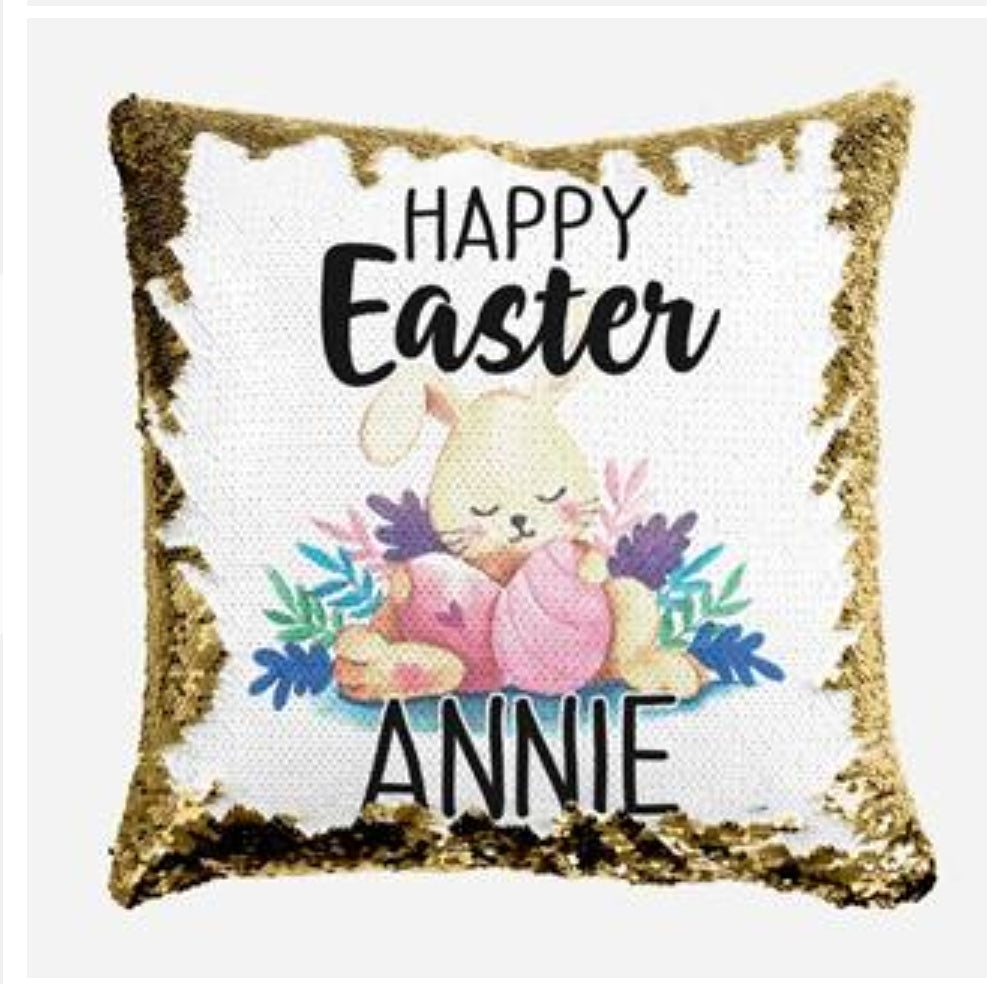 Sleeping Easter Bunny - Personalised Cushion Cover - Mikki & Me Kids