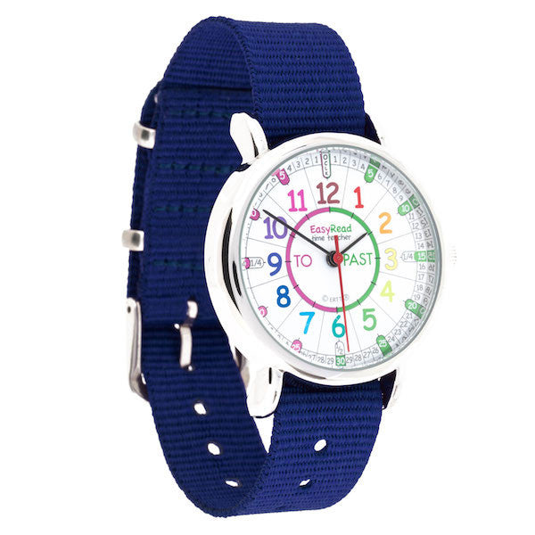 EasyRead Time Teacher Rainbow Face Past & To Watch - Navy Strap - Mikki & Me Kids