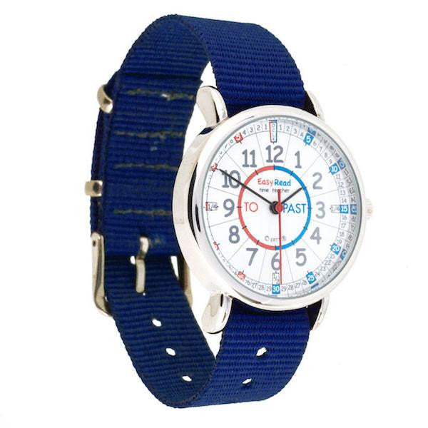 EasyRead Time Teacher (Red and Blue Face) Past & To Watch - Navy Strap - Mikki & Me Kids