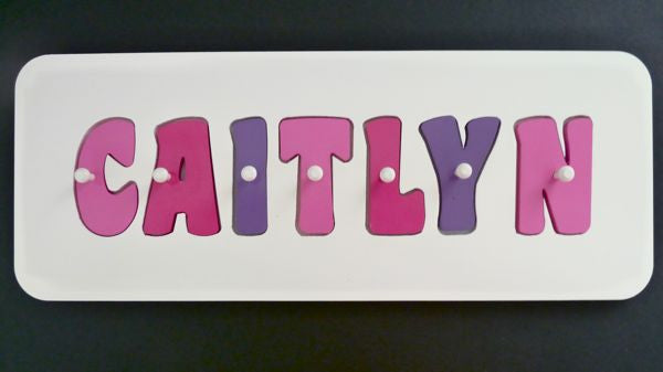 Personalised Name Puzzle - Pink, Hot Pink and Purple - Mikki & Me Kids
