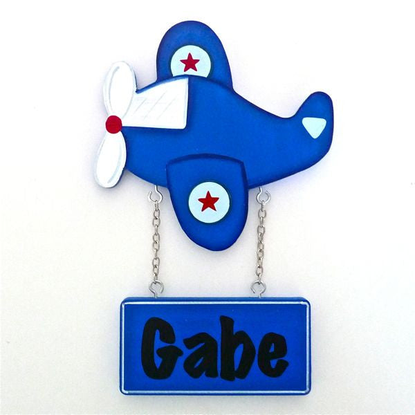 Kids Door Plaque - Plane Blue - Mikki & Me Kids
