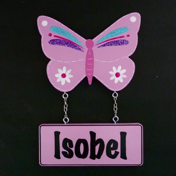 Kids Door Plaque - Butterfly Glittered - Pink - Mikki & Me Kids