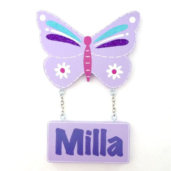 Kids Door Plaque - Butterfly Glittered - Mauve - Mikki & Me Kids