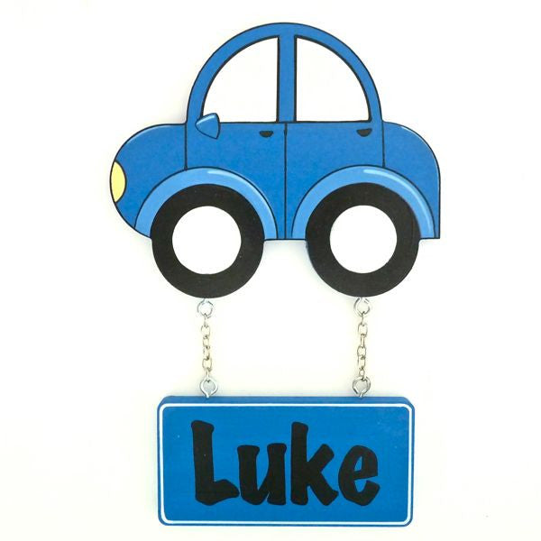 Kids Door Plaque - Car Blue - Mikki & Me Kids