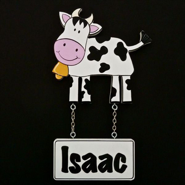 Kids Door Plaque - Cow - Mikki & Me Kids