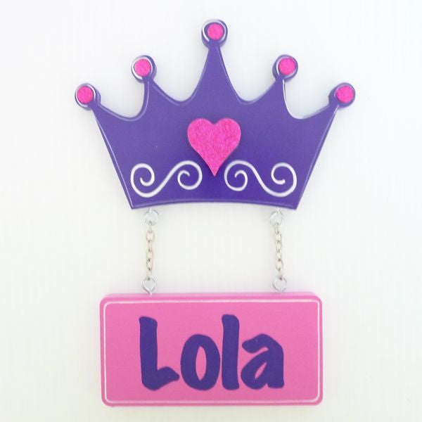 Kids Door Plaque - Crown Purple - Mikki & Me Kids