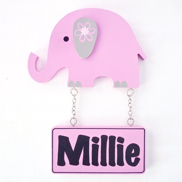 Kids Door Plaque - Elephant Girl - Mikki & Me Kids
