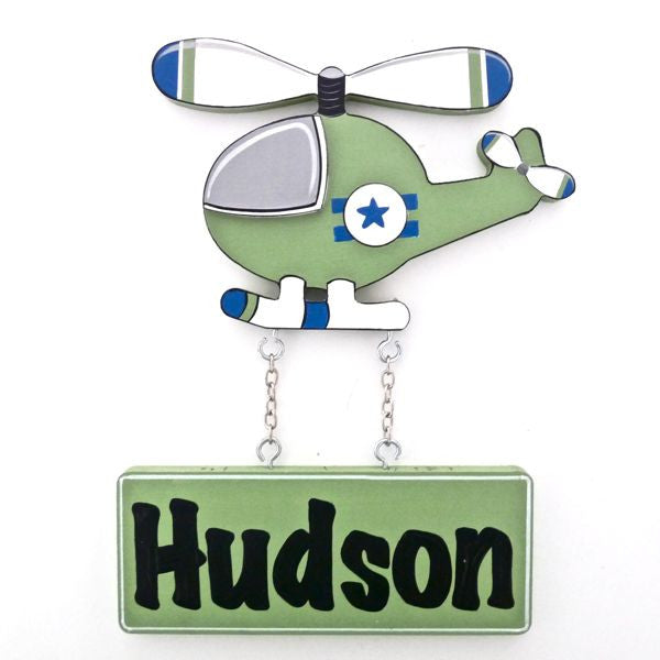 Kids Door Plaque - Helicopter Green - Mikki & Me Kids