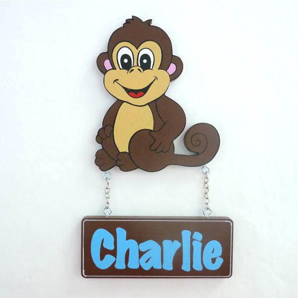 Kids Door Plaque - Monkey Boy - Mikki & Me Kids