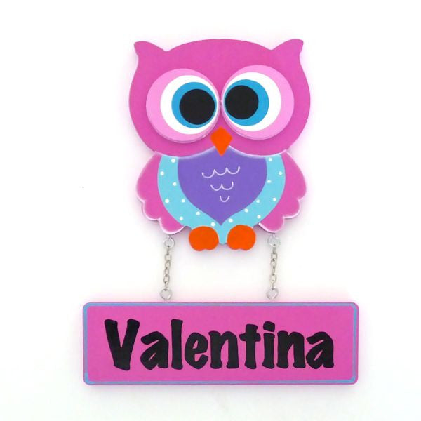 Kids door plaque pink owl