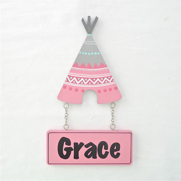 Kids Door Plaque - Tribal Teepee - Girl - Mikki & Me Kids