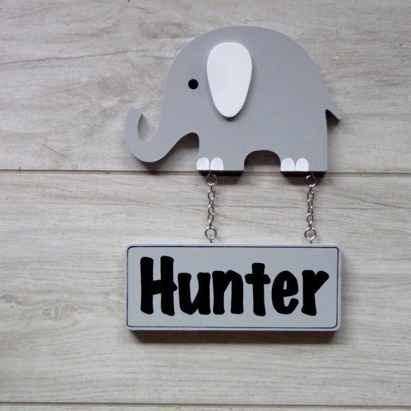 Door Plaque - Grey Elephant - Mikki & Me Kids