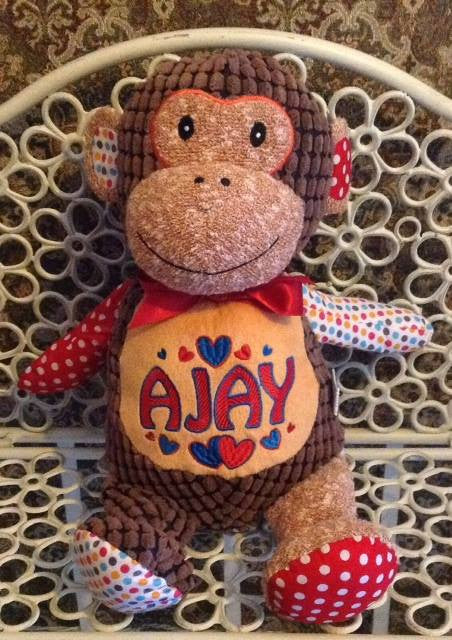 Harlequin monkey personalised toy cubbie