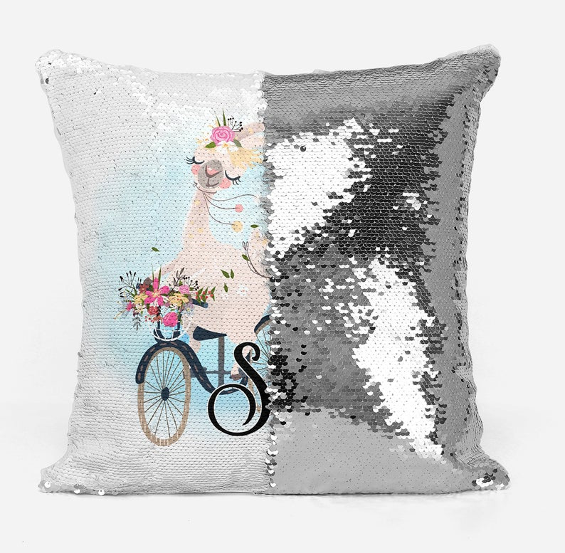 Llama on a bicycle - Personalised Cushion Cover - Mikki & Me Kids
