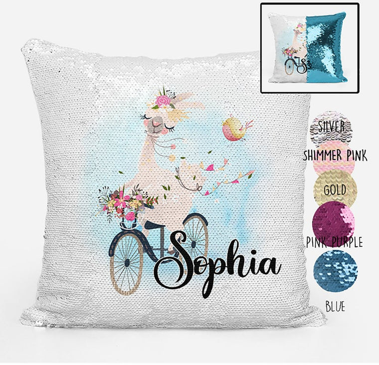 Llama on a bicycle - Personalised Cushion Cover