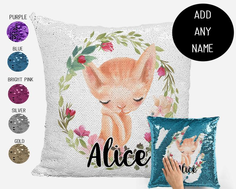 Sleeping Kitten - Personalised Cushion Cover