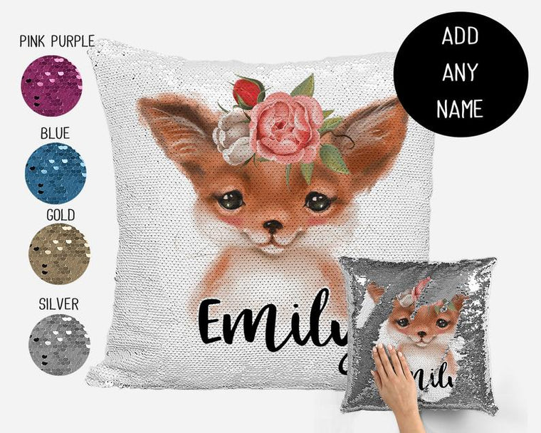Woodland Baby Fox - Personalised Cushion Cover