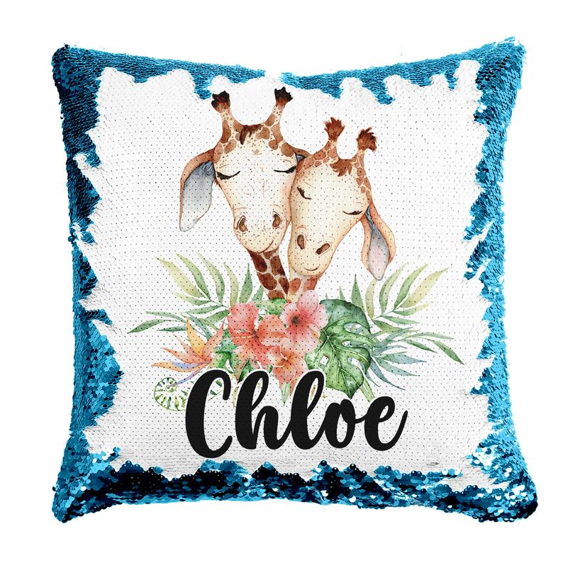 Giraffe Friends - Personalised Cushion Cover - Mikki & Me Kids