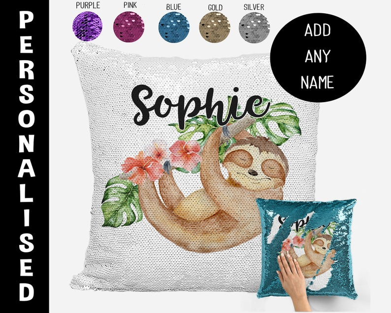 Sloth on a branch - Personalised Cushion Cover - Mikki & Me Kids