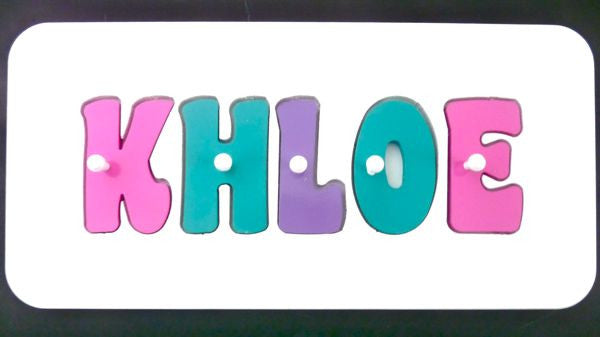 Personalised Name Puzzle - Pink, Sea Green and Purple - Mikki & Me Kids
