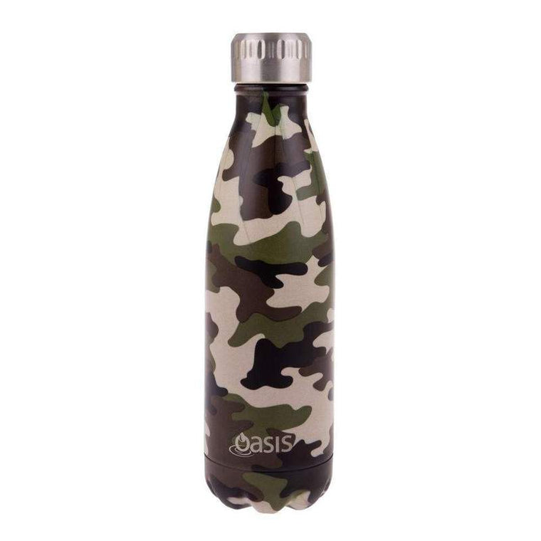 OASIS Stainless Steel Insulated Drink Bottle - Camo Green 500ml - Mikki & Me Kids