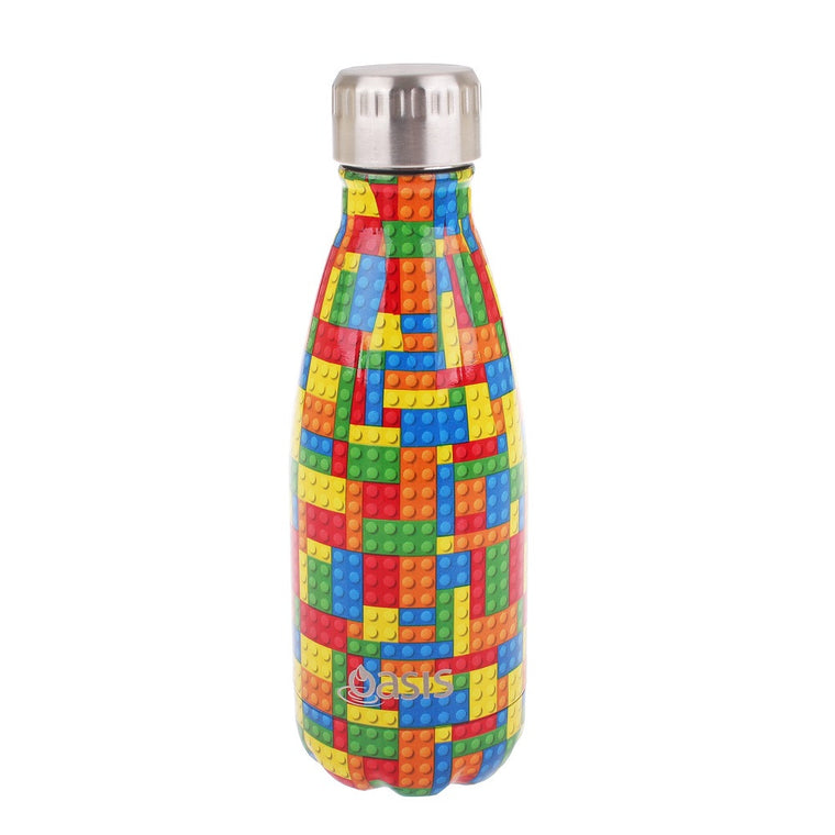 OASIS Stainless Steel Insulated Drink Bottle - Lego Bricks 350ml - Mikki & Me Kids