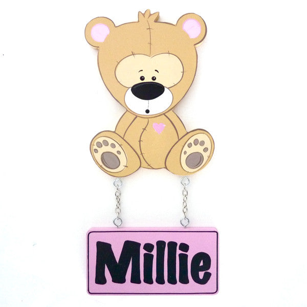 Kids Door Plaque - Teddy Girl - Mikki & Me Kids